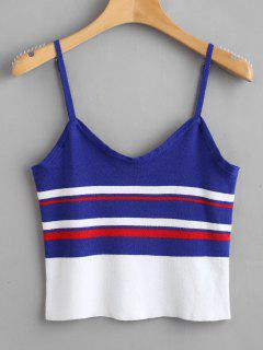 Stripe Knit Tank Top - Royal Blue M