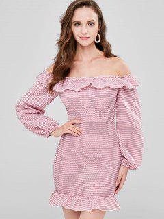 Off Shoulder Striped Smocked Dress - Valentine Red M