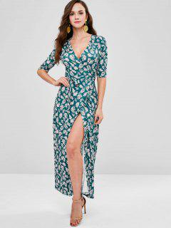 Maxi Leaves Print Wrap Dress - Deep Green Xl