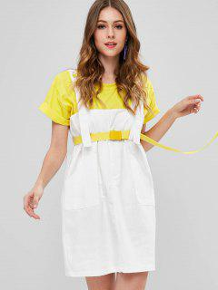 Belted Snap Button Pinafore Dress - White