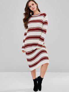 Midi Shift Striped Sweater Dress - Multi