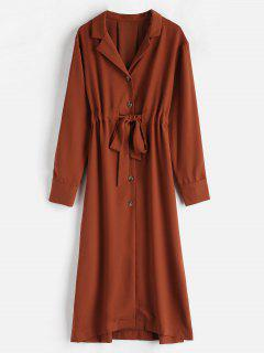Slit Belted Button Up Shirt Dress - Chestnut S