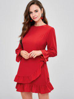 Textured Ruffles Overlay Mini Dress - Red L