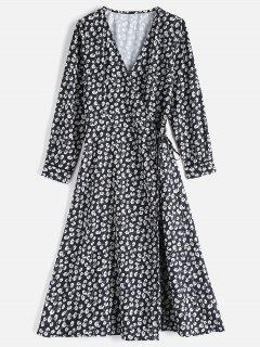 Long Sleeve Flower Wrap Dress - Black L