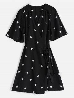 Heart Print Wrap Dress - Black M