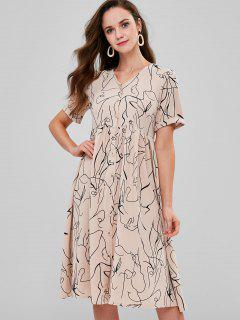 Button Up Printed Midi Smock Dress - Camel Brown