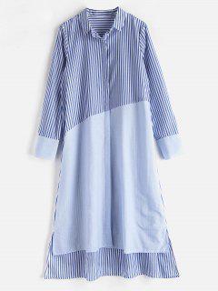 Striped Panesl Shirt Dress - Multi S
