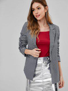 Front Pocket Gingham One Button Blazer - Multi M