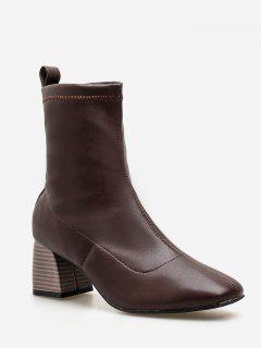 Chunky Heel Slip-on Short Boots - Brown Eu 37