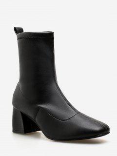 Chunky Heel Slip-on Short Boots - Black Eu 36