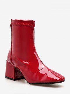 Zip Back Chunky Heel Ankle Boots - Chestnut Red Eu 37