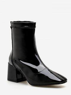 Zip Back Chunky Heel Ankle Boots - Black Eu 37