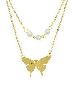 Collar De Cadena De Perla Artificial Con Diseño De Mariposa - Oro