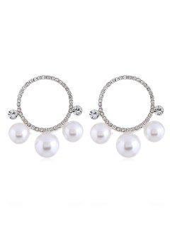 Pendientes De Diamantes De Imitación De Perlas Artificiales - Plata