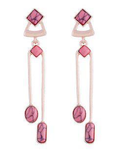 Pendientes De Gota De Gema Artificial De Diseño Geométrico - Rosa