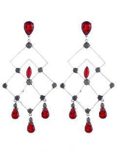 Pendientes De Gota De Diamantes De Imitación De Lágrima Geométrica De Diamantes - Rojo