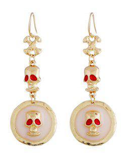 Halloween Skull Design Drop Earrings - Gold