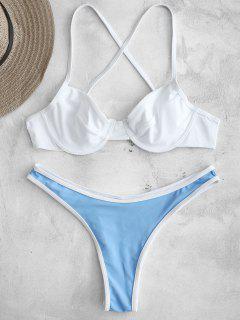 ZAFUL - Bikiniset Mit Kontrastierendem Besatz Und Bügeln - Weiß S