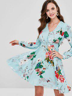 ZAFUL V Neck Flower Print Casual Dress - Multi S