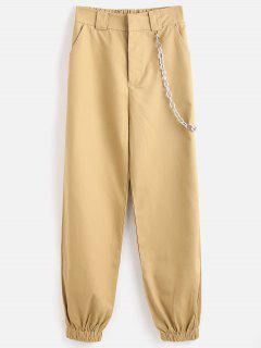 High Waisted Chains Jogger Pants - Light Khaki L