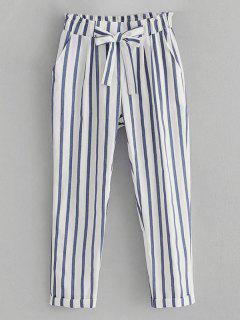 Striped Bowknot High Waisted Pants - White L