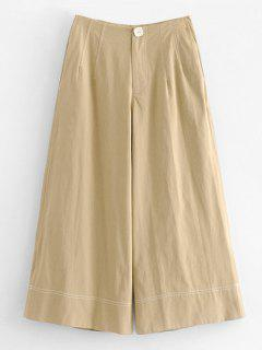 Zipper Pocket Culotte Pants - Tan Xs