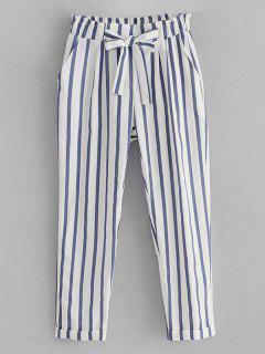 Pantalon Taille Haute Rayé Bowknot - Blanc M