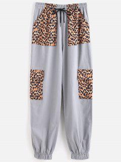 Drawstring Leopard Panel Jogger Pants - Blue Gray M