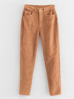 Pantalon En Velours Côtelé à Fermeture éclair - Caramel S