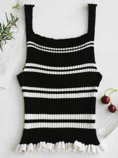 Striped Ribbed Frill Tank Top - Black M