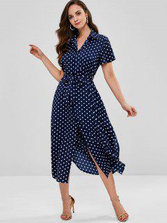 Maxi Polka Dot Belted Shirt Dress - Deep Blue M