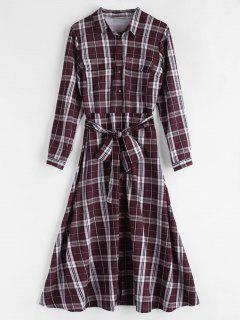 Belted Tartan Shirt Dress - Multi L