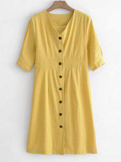 Buttoned V Neck Dress - Sun Yellow L