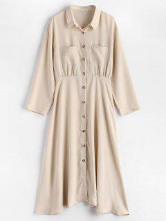Button Up Pocket A Line Shirt Dress - Beige M