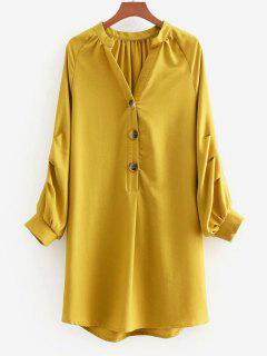 V Neck Long Sleeve Shift Dress - Golden Brown M