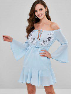 Applique Drawstring Off The Shoulder Dress - Robin Egg Blue L