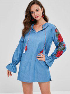 Blumen Applique Tunika Kleid - Blaue Koifisch M