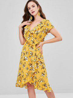 Floral Flounced Surplice Dress - Yellow L