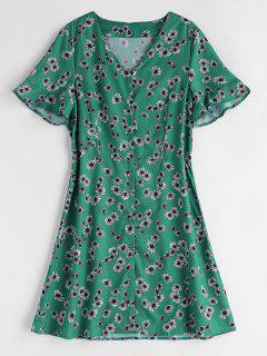 Button Up Floral Shift Dress - Sea Green L