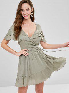 Flounce Texture Wrap Dress - Frog Green L