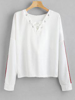 Lace Up Drop Shoulder Hoodie - White S