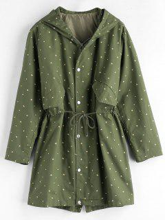 Star Hooded Longline Coat - Medium Sea Green