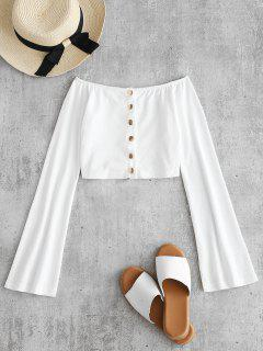 Ribbed Snap Button Crop Top - White L