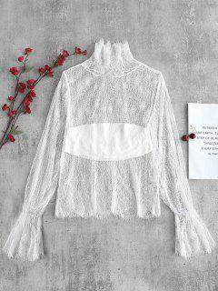 Ruffle See Through Floral Lace Top - White L