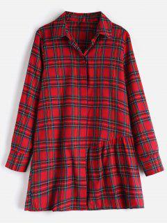 Long Sleeve Tunic Plaid Shirt - Multi M