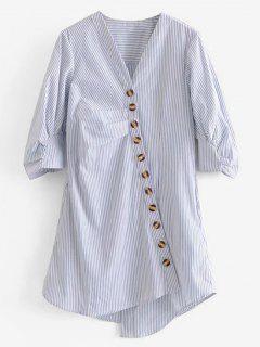 Oblique Button Striped Blouse - Multi M