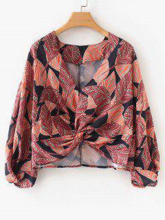 Blusa Estampada Con Cuello En V De Twist - Multicolor L