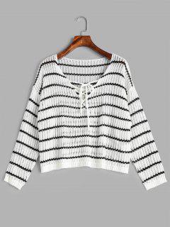 Suéter Ahuecado A Rayas Con Cordones - Blanco L