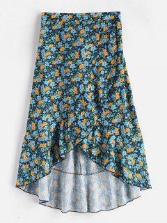 Tiny Floral High Low Skirt - Verde