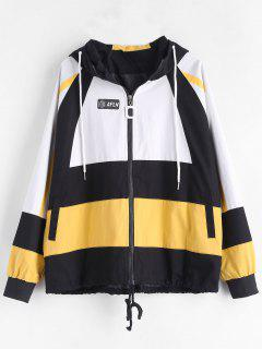 Color Block Hooded Jacket With Pocket - Multi